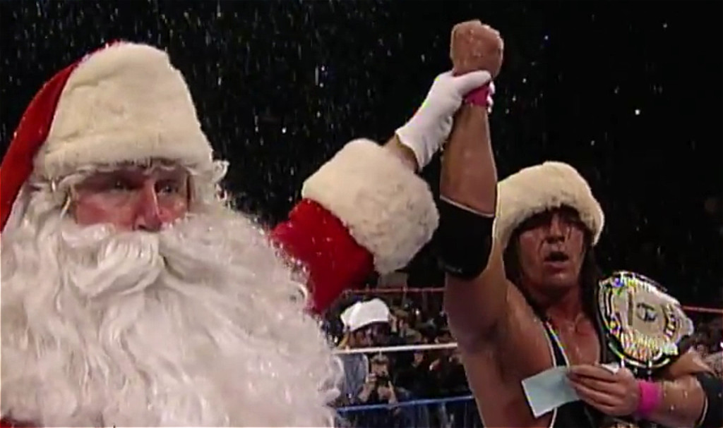 Santa and Bret Hart